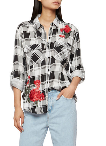 Floral Embroidered Button Front Plaid Top,BLACK/WHITE,large