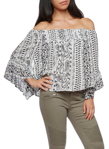 Off the Shoulder Bell Sleeve Printed Top,BLACK,large