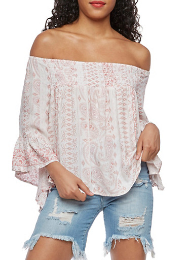 Off the Shoulder Bell Sleeve Printed Top,MAUVE,large
