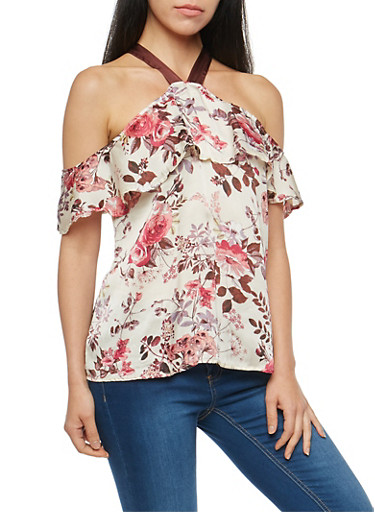 Satin Floral Cold Shoulder Top,IVORY,large
