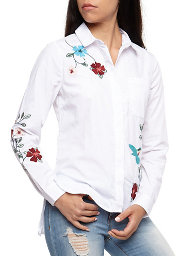 Flower Embroidered Button Front Shirt,WHITE,large