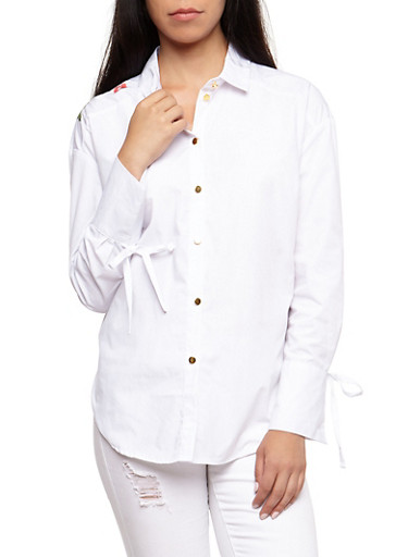 Embroidered Tie Sleeve Button Front Shirt,WHITE,large