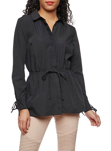 Long Sleeve Button Down Shirt with Cinched Waist,BLACK,large
