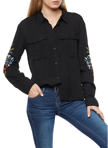 Floral Embroidered Button Front Shirt,BLACK,large