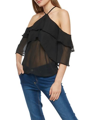 Tiered Cold Shoulder Top,BLACK,large