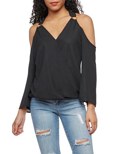 Twisted Hem Cold Shoulder Top,BLACK,large