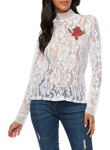 Long Sleeve Lace Top with Rose Patch at Rainbow Shops in Daytona Beach, FL | Tuggl