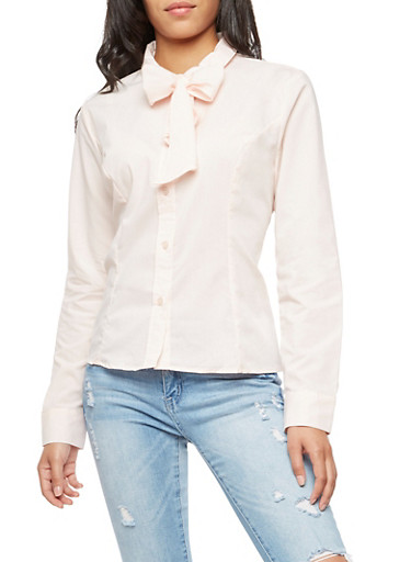 Long Sleeve Big Bow Collar Blouse,BLUSH,large