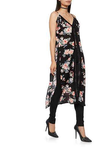 Sleeveless Floral Maxi Top with Crochet Trim,BLACK,large