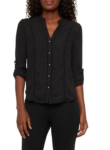 Sheer Mandarin Collar Blouse with Eyelet Trim,BLACK,large