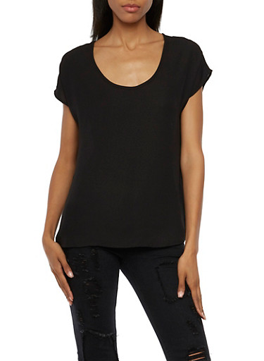Oversize Chiffon Blouse with Scoop Neck,BLACK,large