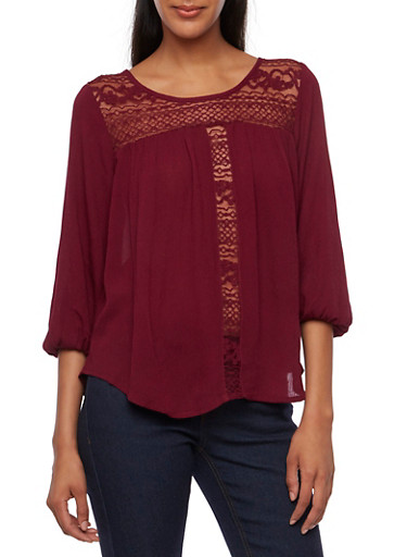 Ruched Top with Crochet Paneling,BURGUNDY,large