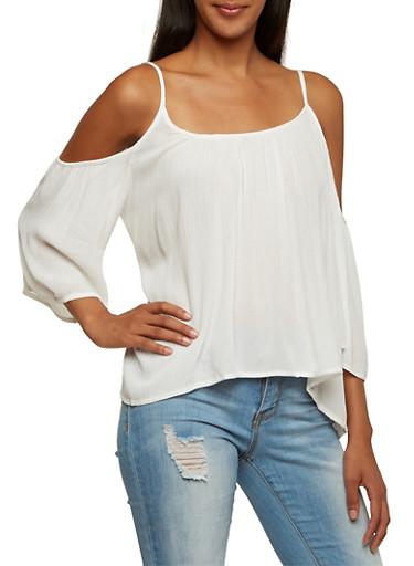 Cold Shoulder Top,OFF WHITE,large