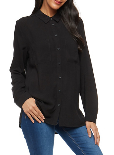 Long Sleeve Button Front Shirt,BLACK,large