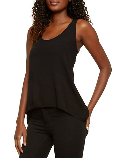 High-Low Tank Top with Lace Inset,BLACK,large