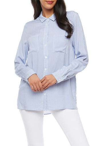 Striped Button Front Shirt,BK BLUE/WHT,large