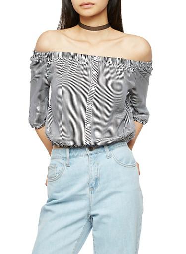 Striped Off the Shoulder Crop Top,BLACK/WHITE,large