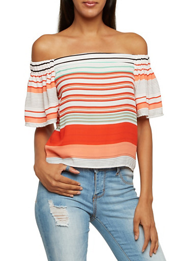 Striped Off-The-Shoulder Top with Flutter Sleeves,BLACK,large