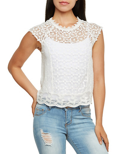 Raglan Top with Lace and Eyelet Front,IVORY,large