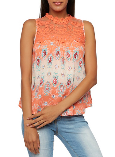 Sleeveless Mixed-Print Top with Lace Yoke,CORAL,large