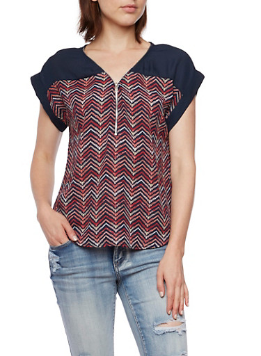 Chiffon Top with Chevron Print,NAVY,large