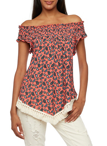 Printed Off-the-Shoulder Top with Fringe Trim,CORAL,large