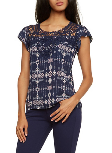 Printed Top with Crochet Accent,NAVY/BLUSH,large