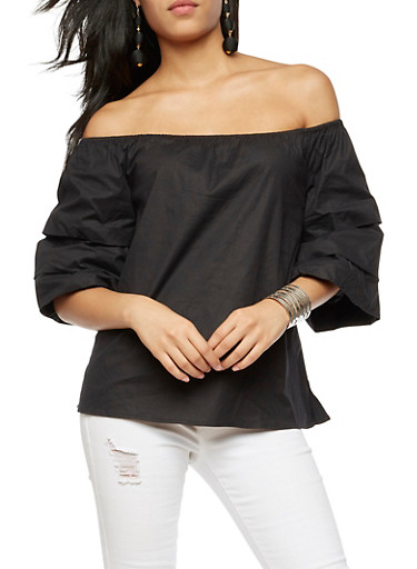 Off the Shoulder Triple Layered Top,BLACK,large