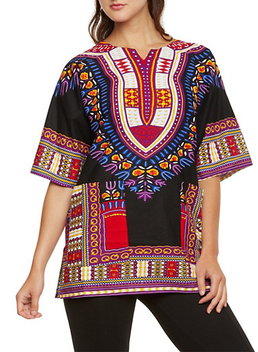 Short Sleeve Dashiki Print Top,8 BLACK C,large