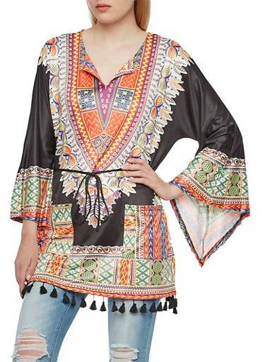 Bell Sleeve Top with Dashiki Print and Pom-Pom Hem,BLACK MULTI,large