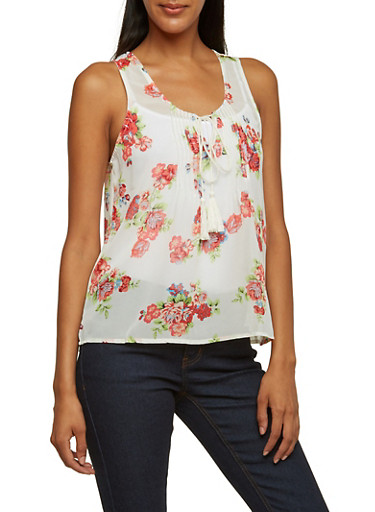 Sheer Floral Print Tank Top,IVORY,large