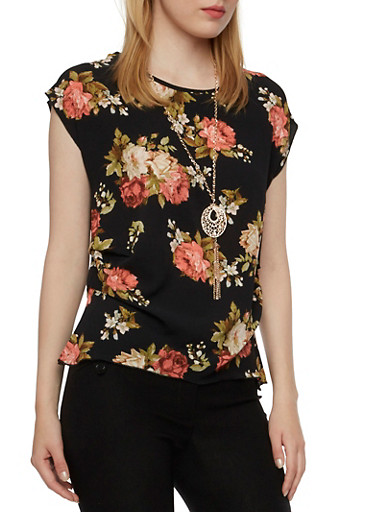 Floral Top with Necklace and Ruched Hem,BLACK,large