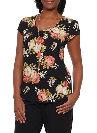 Floral Print Textural Top with Necklace,BLACK,large