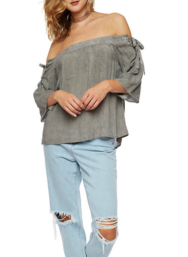 Off the Shoulder Top with Lace Up Sleeves,GRAY,large
