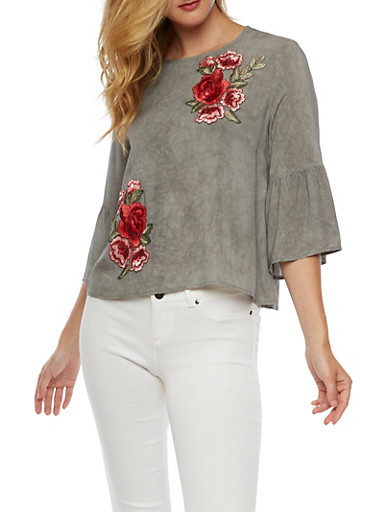 Bell Sleeve Top with Rose Applique,GRAY,large
