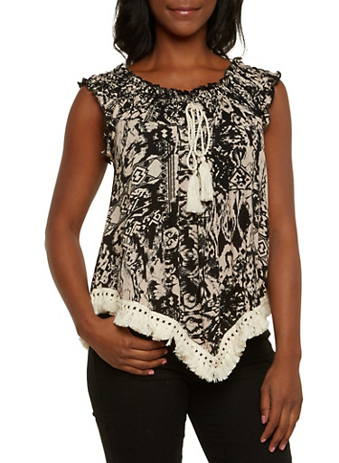 Printed Top with Asymmetrical Fringe Trim,BLACK/MOCHA,large