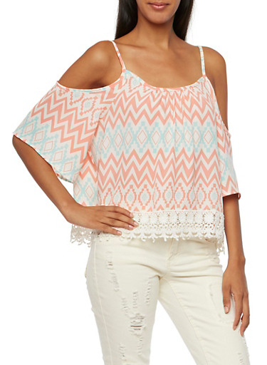 Cold Shoulder Top with Crochet Trim,CORAL,large