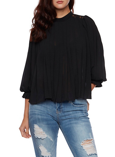 Pleated Top with Lace Shoulders and Back Buttons,BLACK,large