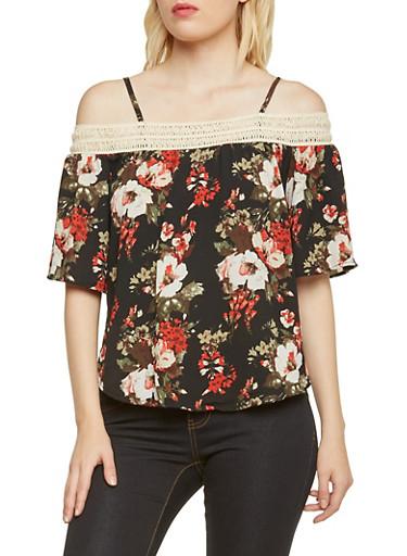 Floral Off the Shoulder Top with Crochet Trim,BLACK,large