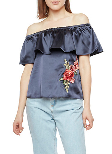 Satin Off the Shoulder Top with Rose Applique,NAVY,large