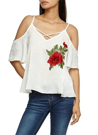 Satin Floral Applique Off the Shoulder Top,WHITE,large
