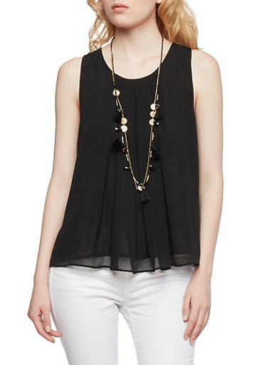 Chiffon Trapeze Top with Removable Layered Necklace,BLACK,large