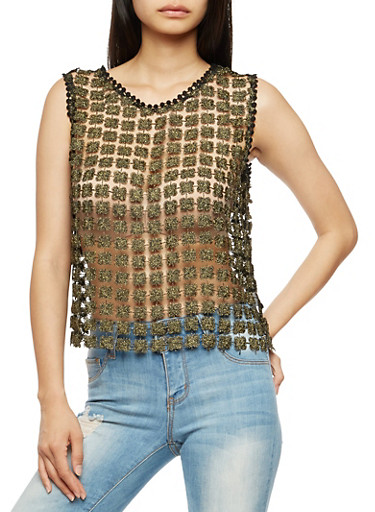 Sleeveless Lurex Crochet Top,BLACK,large