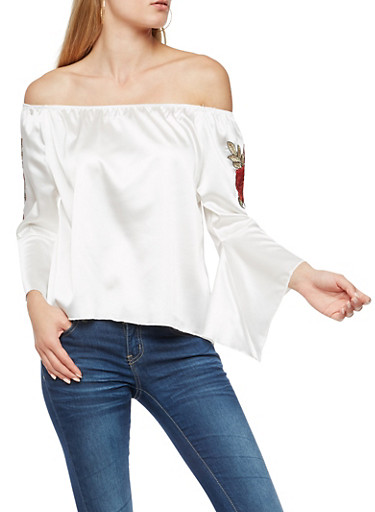 Satin Off the Shoulder Top with Bell Sleeves,IVORY,large
