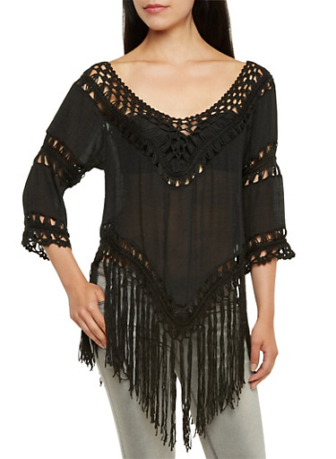 Asymmetrical Top with Crochet Detail and Fringe Trim,BLACK,large