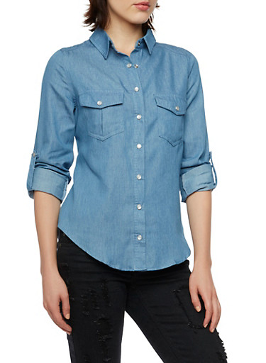 Chambray Button Front Shirt with Lace-Up Back,BLUE,large