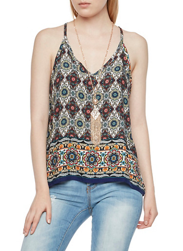 Paisley Trapeze Top with Removable Necklace,MULTI COLOR,large