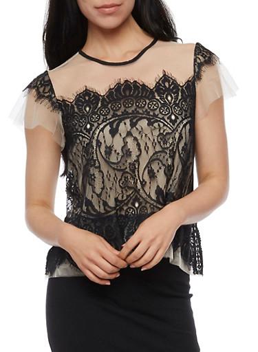 Short Sleeve Lace Front Mesh Top,KHAKI/BLK,large