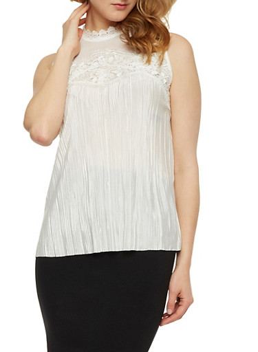 Mesh Yoke Crinkle Knit Top with Lace Trim,IVORY,large