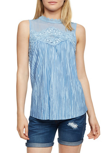 Mesh Yoke Crinkle Knit Top with Lace Trim,CHAMBRAY,large